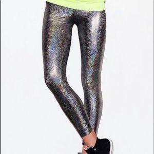 VS Pink metallic gray glitter holographic legging